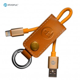 "Pivoful 2 in 1 Key chain Charging Data Sync Cable, 5.4""/18cm Data Cable For iPhone Android - Micro USB cable - Suede Orange"