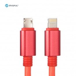 "Pivoful 2 in 1 Key chain Charging Data Sync Cable, 5.4""/18cm Data Cable For iPhone Android - Micro USB cable - Red"