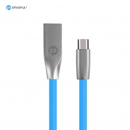 Pivoful TYPE C Kirsite USB connector TPE material Charging Data Sync Cable (Blue)