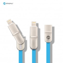 Pivoful 2 in 1 TPE soft material Charging Data Sync Cable For iPhone & Android - Blue