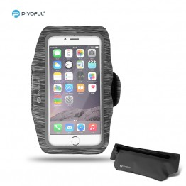 Pivoful iPhone 6s 6 armband + Waist Pack for Outdoor Sports (Gray Armband+ Black Bag)