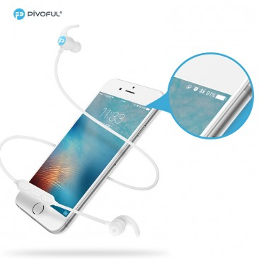 Pivoful Bluetooth 4.0 Earphone Sports Headphones Headsets with Built-in Mic (White)