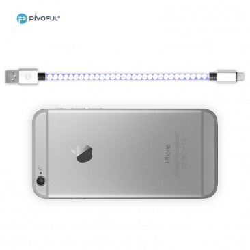 "Pivoful 2 in 1 180mm/7"" Charging Data Sync Cable Universal For iPhone and Android - White/Purple"