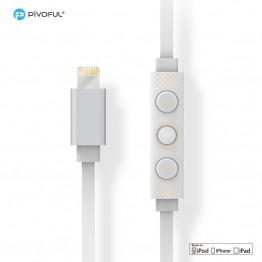 Pivoful Apple MFI Verified Lightning Wired Headphone Earphone Headset for iPhone - White